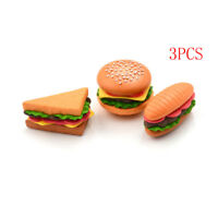 3pcs Mini Hamburger Sandwich Food Decor Craft Dollhouse Accessories EBAU EO