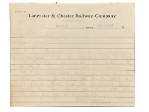 1915 Letterhead Lancaster And Chester Railway Company Fort Lawn South Carolina
