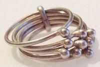 bague bijou vintage couleur argent rhodié  5 anneaux déco mobile taille 53 - 324
