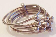 bague bijou vintage couleur argent rhodié  5 anneaux déco mobile taille 51  3954