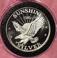 {BJSTAMPS} 1984 Sunshine Mining 1 ozt .999 Silver SUNSET rainbow Toned  LOT of 5