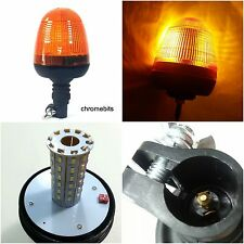 LED Rotating Flashing Amber Beacon Flexible DIN Pole Tractor Warning Light 12-24