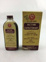 "Vintage Nu-Tyme Expectorant Pharmacy Medicine Box & Bottle 6.75"" APC New York"