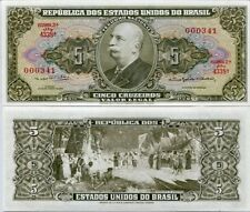 BRAZIL 5 CRUZEIROS ND 1964 P 176 d LOW SERIAL NUMBER UNC