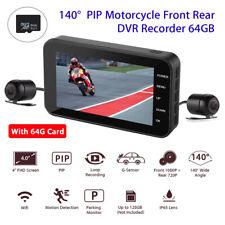 De doble lente HD 1080P+720P Cámara De Tablero De Moto Acción DVR sensor G & Tarjeta 64GB