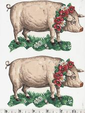 PIGS WITH GARLANDS~SET OF 2~IRON FABRIC APPLIQUE/TRANSFER~NO SEWING REQUIRED