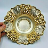 BEAUTIFUL SOLID SILVER  FRUIT BOWL WITH GILDED FLORAL EDGE 336Gg