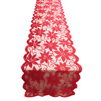 Christmas Table Runner Cover Red Vintage Lace Doilies Mats Party Decor 13x72inch