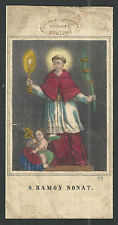 Lamina antique de San Ramon Nonato santino holy card grabado estampa