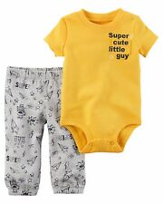 New Baby Boy size 12 Month Carter's 2 Piece Set Bodysuit Pants FALL WINTER NWT