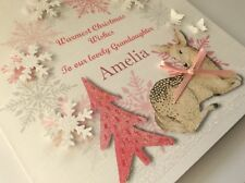 Personalised Handmade Christmas Card, Deer,3D, Granddaughter ,Name, 1st Xmas,etc