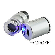 1Pc 60x Mini Jeweler Inspection Loupe Microscope Magnifier Len With LED UV Light