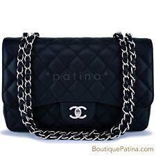 Chanel Black Caviar Jumbo Classic Flap Bag SHW 62853