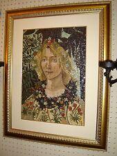 Antique Italian Micro Mini Mosaic Large Plaque Renaissance Lady Portrait Superb.