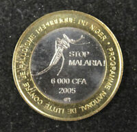 West Africa Niger Coin 6000 CFA 4 Africa 2005 UNC,  STOP MALARIA
