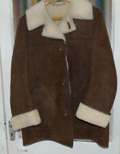 Vintage  Men's Soft  Brown Real Sheepskin Retro Jacket Coat