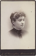 CABINET CARD. GOUVERNEUR, NY. YOUNG WOMAN IN HIGH NECKED COLLAR.
