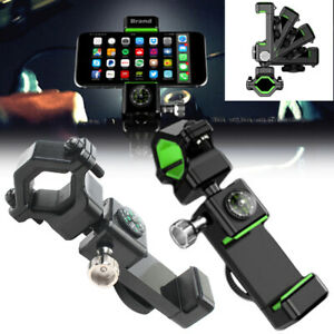 Bicycle Handlebar Holder Mount Stand With LED Light Compass for Cell Phone Good