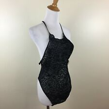 Nwt Frederick'S Of Hollywood Womens Large Black Leopard Print Bodysuit Leotard