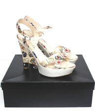 "Chanel White Canvas Heart ""Valentine"" 2006 Collection Wedge Sandals 39 uk 6"