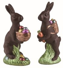 PAIR Easter Faux Classic Chocolate Bunny Rabbit w/ Basket of eggs Decoration 8""