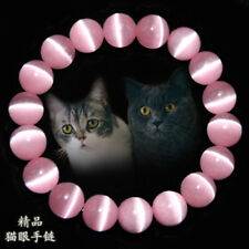 8MM Natural Pink Cat Eye Stone Gemstone Beads Jewelry Bracelet Bangle