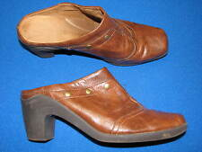 10 Aerosoles Brown Faux Leather Ladies Womens Shoes Mules Slipon Clogs Studded