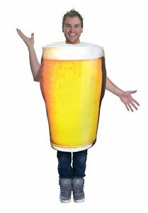 Adult Pint Of Beer Costume - Mens Stag Alcohol Oktoberfest Fancy Dress Outfit