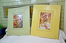 qty 2 Beautiful Fairies Vintage Framed old Lithograph Print Art, 15X21""