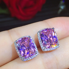 Delicate Amethyst Zircon 925 Sterling Silver Womens Jewelry Stud Earrings SE052