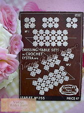 Vintage 30s Crochet Pattern For Dressing Table Sets. 2 Designs FREE UK P&P