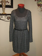 Nanette Lapore Tiered Black w/Silver Accents Dress size 6