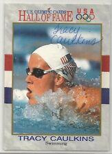 TRACY CAULKINS Autographed 1991 U.S. Olympics Hall of Fame Trading Card.  NICE!!