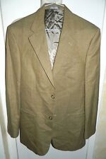Oscar De La Renta Brown Pin Wool Sport Coat Suit Jacket Blazer Men's Size 39L