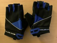 GOLD 'S GYM TACKY HALF FINGER WEIGHTLIFTING GLOVES BLUE/BLAK SIZE XS/S