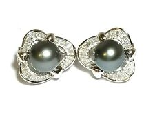 Tahitian South Sea Peacock Grey 11mm Round Pearl French Omega Back Stud Earring