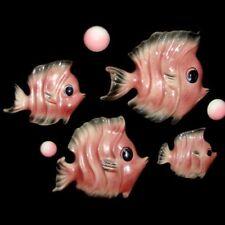 50s Vintage Ceramic Ceramicraft Pink Fish Family - 4 Fish Family w Bubbles