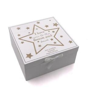 Personalised Baby Keepsake Box With Stars Vintage Style wooden Memories CG1309-8
