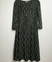 Liz Claiborne Casual Black V-neck Empire Waist Dress size 12 Circle Pattern
