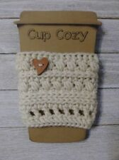 New listing cup cozy coffee drink sleeve crochet heart button knit Off white handmade new