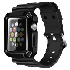 Protective Rugged Case Screen Protector Band Strap for 38mm Apple iWatch Black