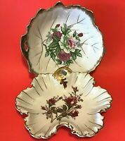 """VINTAGE CANDY DISHES SET OF 2 HAND DECORATED MOSS ROSE GOLD ACCENTS 8 3/4"""""""