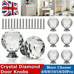 New Modern Diamond Crystal Drawer Cabinet Cupboard Wardrobe Doors Handles Kn SK