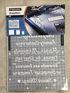 Fiskars Shape Boss Stencils Scrap Book Phrases Christmas Birthday Cards +