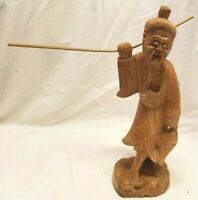 Vintage Japanese Carved Wood Fisherman Man Hand Carved Asian Art
