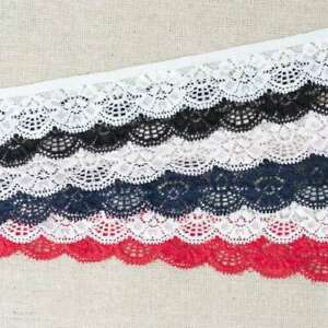 Stretch Lace Trim Width 30mm  White Ivory Pink Red Navy Black
