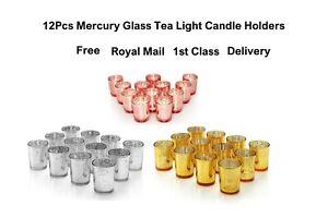 12Pcs Mercury Glass Tea Light Candle Holders Votive Home Wedding Decor ON SALE *