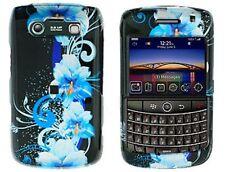 Snap On Plastic Design Phone Case Blue Flower For BlackBerry Bold 9700 9780