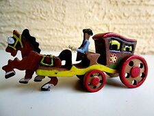 VINTAGE WOOD CARVED HORSE DRAWN COACH & DRIVER MOVEABLE WHEELS DECORATION