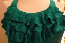 THE LIMITED Tank Top Ruffled Aqua Green Nylon Size Small S Ribbed Knit